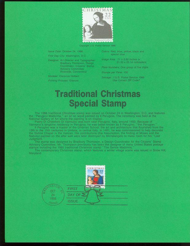 2244 22c Christmas Madonna USPS 8629 Souvenir Page #8629