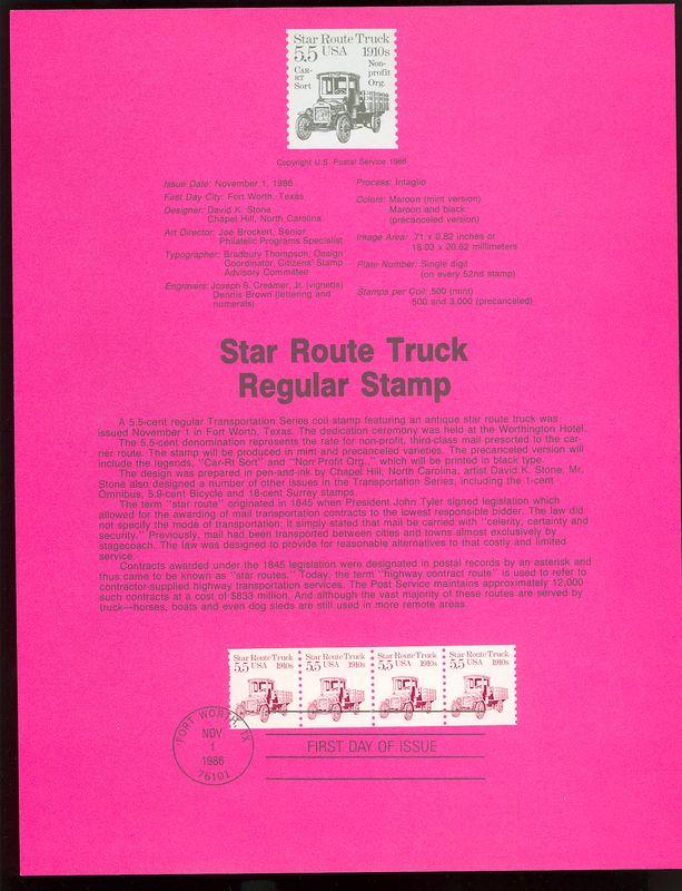 2125 5.5c Star Route Coil USPS 8630 Souvenir Page #8630