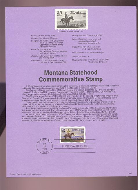 USPS Souvenir Page 89-1   2401      25c Montana Stateh #89-1