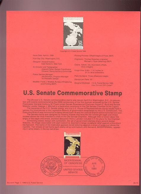 USPS Souvenir Page 89-10   2413      25c Senate #89-10