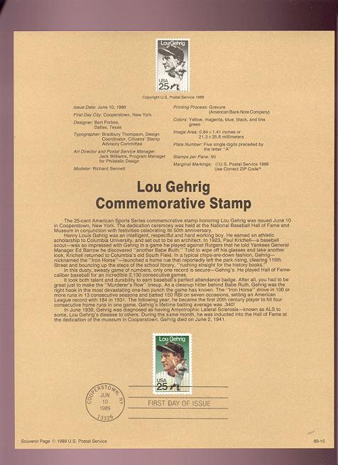 USPS Souvenir Page 89-15   2417      25c Lou Gehrig #89-15