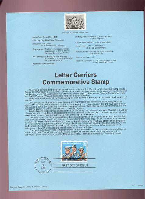 USPS Souvenir Page 89-21   2420      25c Letter Carrier #89-21