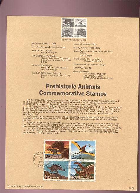 USPS Souvenir Page 89-24   2422-25    25c Prehist Animal #89-24