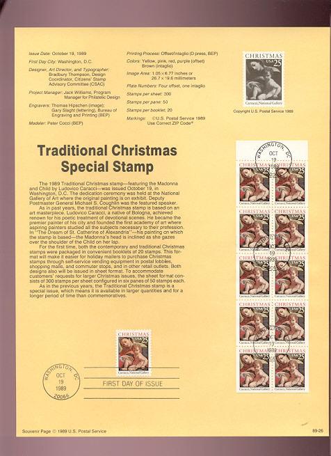 USPS Souvenir Page 89-26   2427/2427a   25c Christmas-Trad #89-26