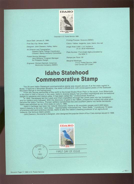 USPS Souvenir Page 90-1   2439      25c Idaho Statehoo #90-1
