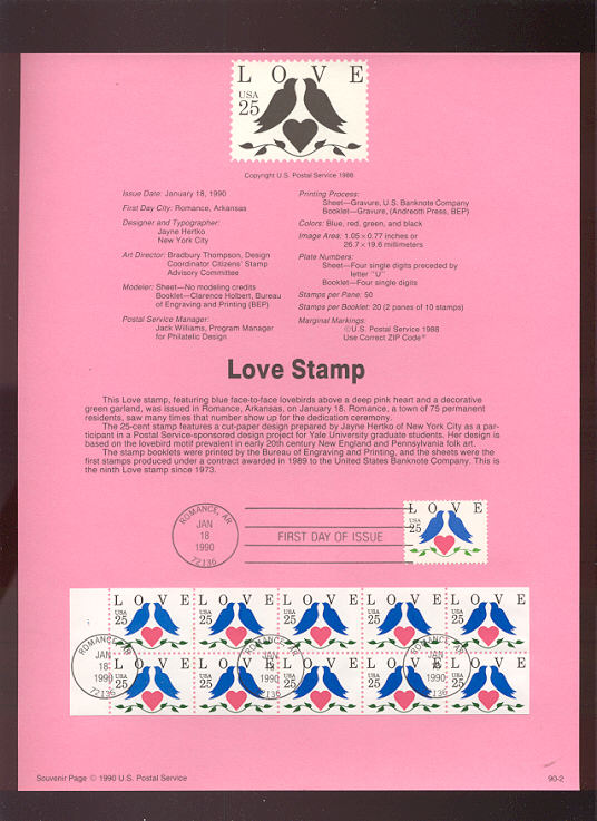 USPS Souvenir Page 90-2   2440/1     25c Love (2) #90-2
