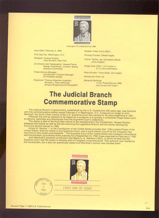 USPS Souvenir Page 90-4   2415      25c Supreme Court #90-4