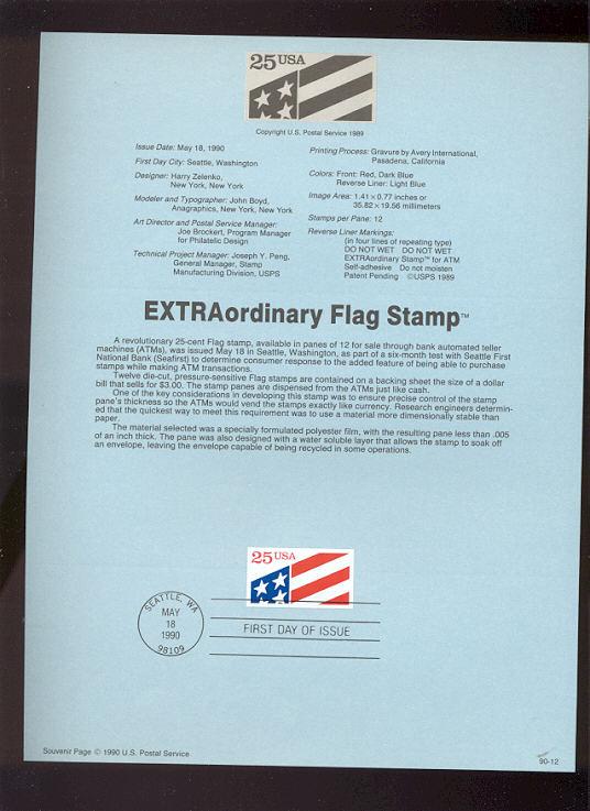 USPS Souvenir Page 90-12   2475      25c Plastic ATM st #90-12