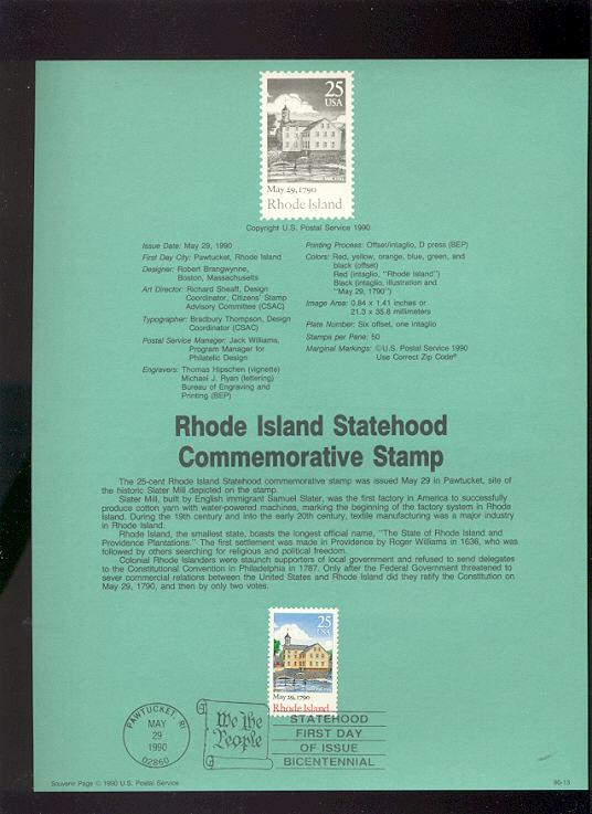USPS Souvenir Page 90-13   2348      25c Rhode Island #90-13