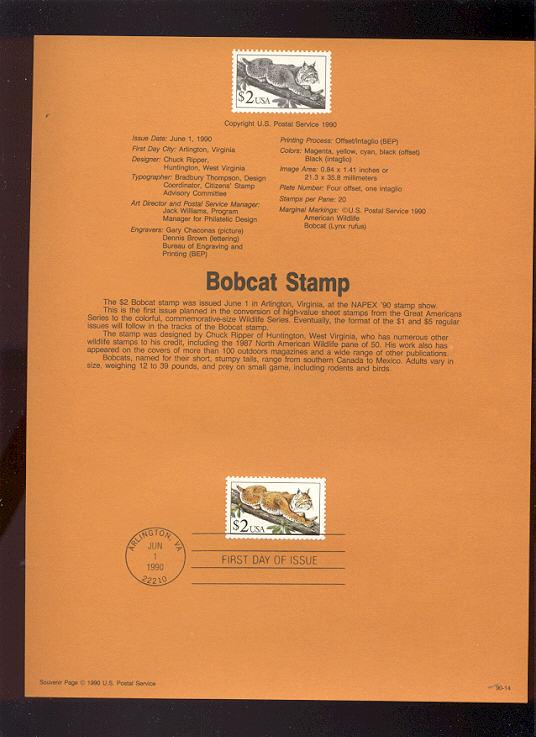 USPS Souvenir Page 90-14   2476      $2.00 Bobcat #90-14