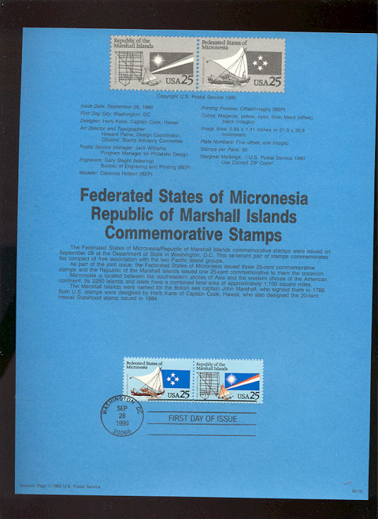 USPS Souvenir Page 90-19   2506-7     25c Federated Stat #90-19