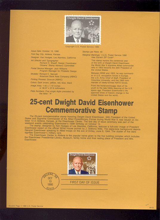 USPS Souvenir Page 90-22   2513      25c Dwight Eisenho #90-22