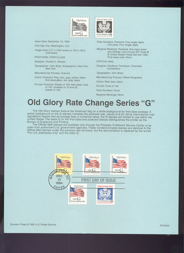USPS Souvenir Page 94-G3   2879//89,O152 G BEP #94-G3