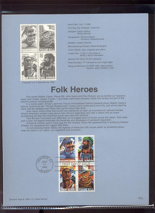 USPS Souvenir Page 96-25   2083-86    32c Folk Heroes #96-25