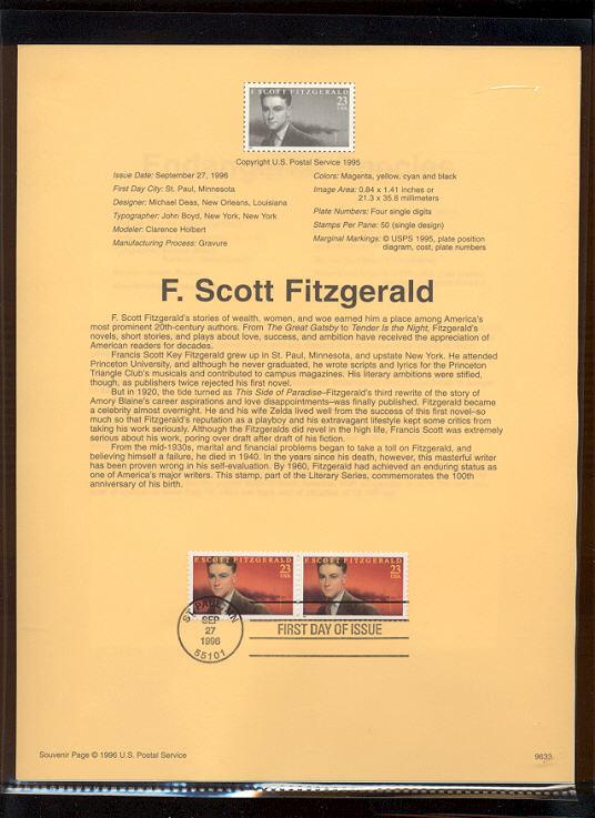 USPS Souvenir Page 96-33   3104      23c F. Scott Fitzg #96-33