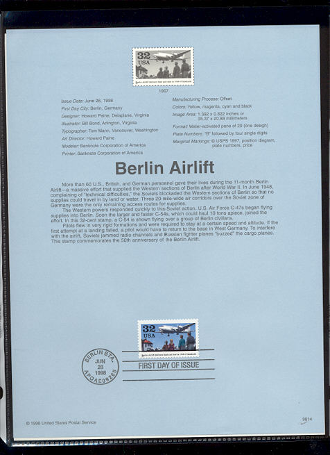 3211     32c Berlin Airlift USPS Souvenir Page #98-14