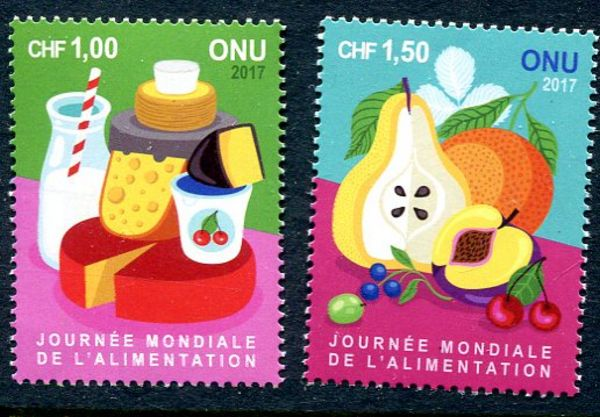 UNG 644-645 1, 1.50 Fr World Food Day Set of 2 Singles #ung644-5
