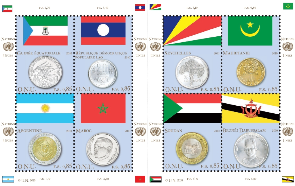 UNV 459 65e Coin and Flag Sheet of 8 Mint NH #ung459