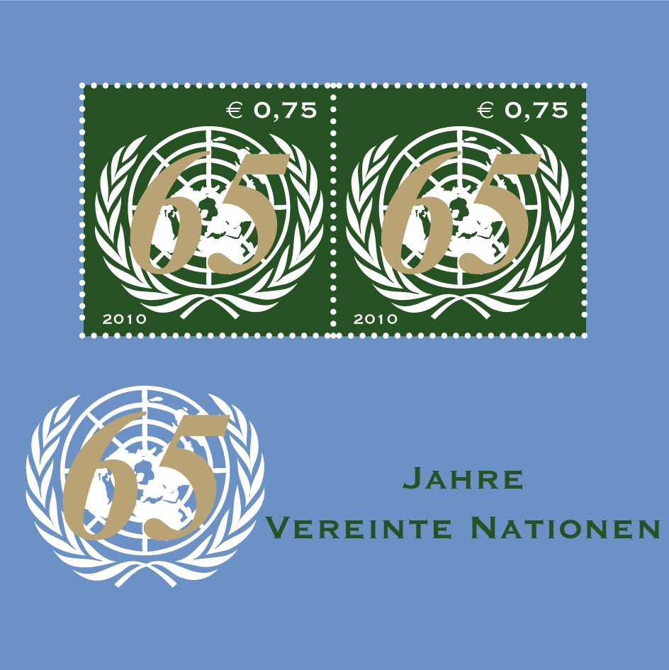UNV 474a .75e 65th Anniversary Mint NH Souvenir Sheet of 2 #unv474a