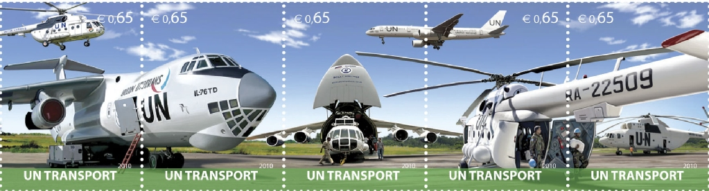 UNV 475-9 .65 UN Transport Air Land NH strip of 5 #unv475