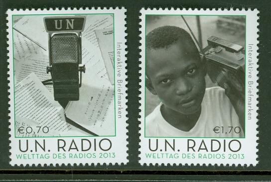 UNV 521-2 .70, 1.70 UN World Radio Mint NH #UNV521-2nh