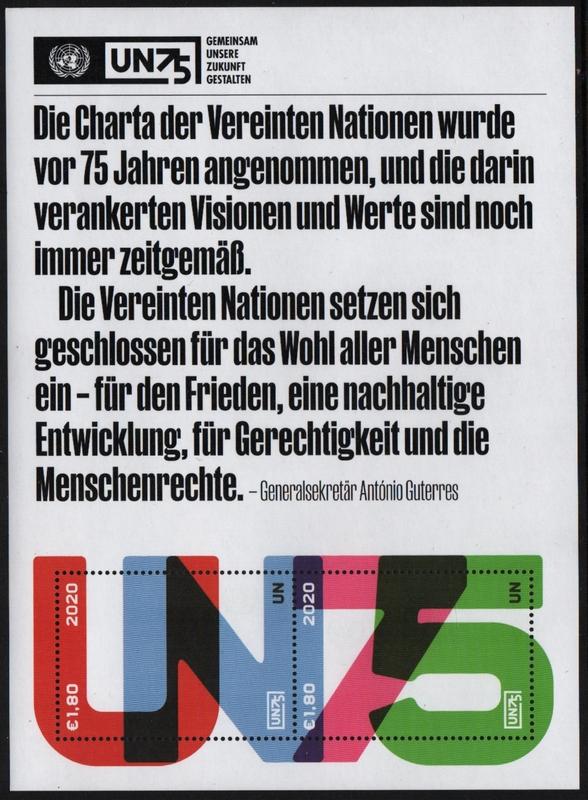UNV 667 $2.40 UN 75th Anniversary Souvenir Sheer #unv667sh