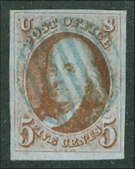1d 5c Franklin, brown orange, Imperforate VF Used 1dusedv