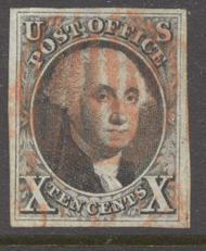 2 10c Washington, black Imperforate AVG-F Used 2usedavg