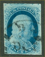 7 1c Franklin, Type II, Imperforate   Used F-VF 7used