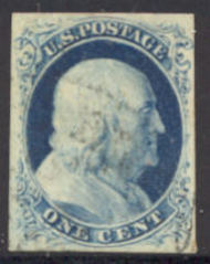 9 1c Franklin, Type IV, Imperforate AVG-F Used 09usedAVG
