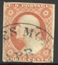 10 3c Washington, orange brown, Type I Imperf Used Minor defect 10usedmd