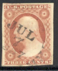 11 3c Washington, dull red, Imperforate, AVG Used 11usedavg