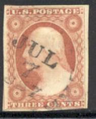 11 3c Washington, dull red, Imperforate, AVG Used 0011u2