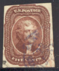 12 5c Jefferson, red brown, Imperf AVG Used 12usedqvg