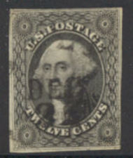 17 12c Washington, black, Imperforat Used Minor Defects 17umd
