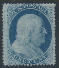 24 1c Franklin, Type V, Perf 15,  Unused OG Minor Defects 24og