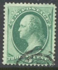 136 3c Washington with H Grill, F-VF Used 136used