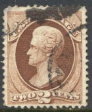 157 2c Jackson, brown, Continental Printing, Used  F-VF 157used