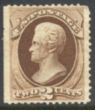 157 2c Jackson, brown, Continental Printing, Unused  F-VF 157og