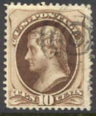 161 10c Jefferson, brown,  Used  F-VF 161used