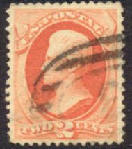 183 2c Jackson, vermilion, Used  F-VF 183used