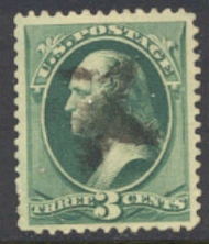 184 3c Washington, green, American Printing, Used  F-VF 184used