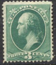184 3c Washington, green, American Printing, Unused No Gum Minor Defects 184ngmd