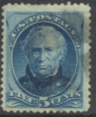 185 5c Taylor, blue, Used  F-VF 185used