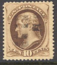 187 10c Jefferson brown, no secret mark Used  F-VF 187used