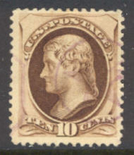 188 10c Jefferson brown,, with secret mark Used  F-VF 188used