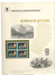 1485 8c Robinson Jeffers USPS Cat. 19 Commemorative Panel cp019