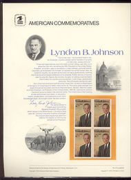 1503 8c Lyndon B. Johnson USPS Cat. 20 Commemorative Panel cp020