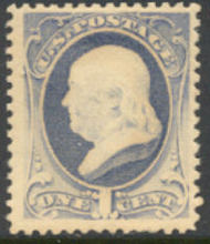 206 1c Franklin, gray blue Mint NH Average 206nhavg