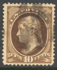 209 10c Jefferson, brown, Used Average 209usedavg